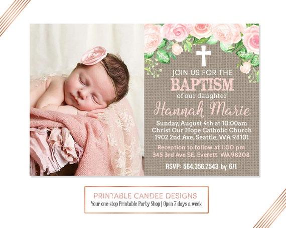 burlap floral baptism invitation baby girl baptism etsy