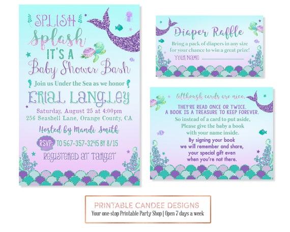 Mermaid Baby Shower Invitation Mermaid Shower Purple Teal Aqua Etsy