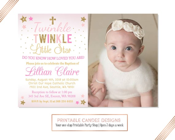 Twinkle Little Star Baptism Invitation Baby Girl Baptism Etsy