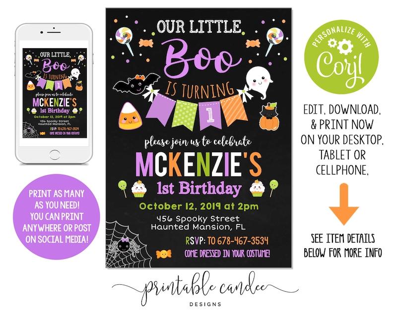DIY Print Custom HALLOWEEN SCARY TRICK OR TREAT Birthday Party Invitations