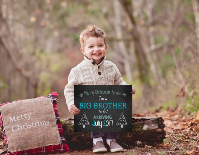 Christmas Pregnancy Announcement, Holiday Announcement, Christmas Photoshoot Prop, DIY Custom Printable, Big brother Announcement