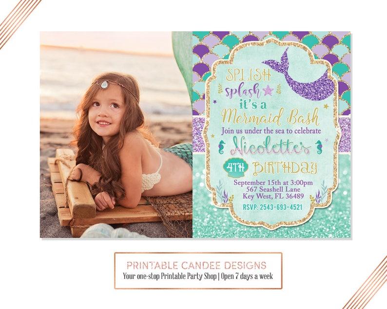 Splish Splash Mermaid Invitation Birthday
