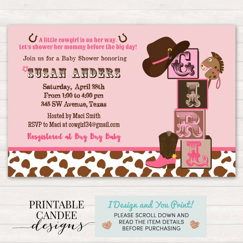 Cowgirl Baby Shower Invitation Pink Brown Western Theme Cow Print Girl Rustic Printable File