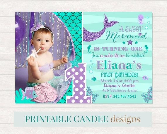 Mermaid 1st birthday invitation mermaid invite under the sea etsy image 0 filmwisefo