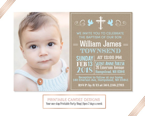 Blue Burlap Baptism Invitation Baby Boy Baptism Invitation Etsy