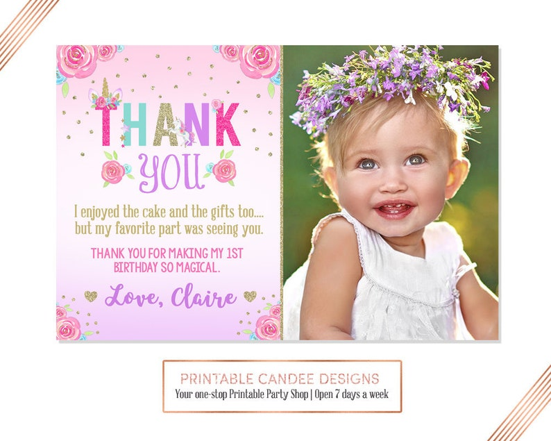 Unicorn 1st Birthday Thank You Floral Glitter Magical Party Printable