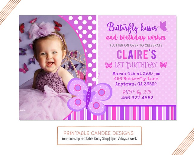 Purple Butterfly Birthday Invitation Invite Party Printable