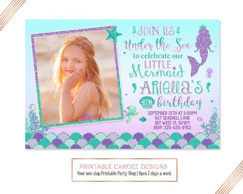 Under The Sea Mermaid Invitation Birthday