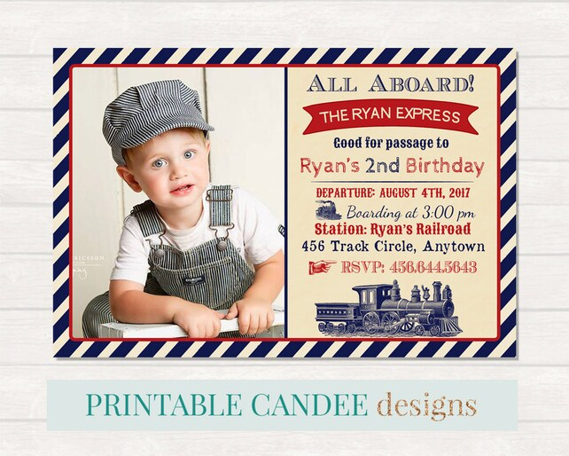 Train Birthday Invitation Party Vintage Printable Invite