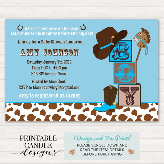 Cowboy Baby Shower Invitation Cowboy Baby Shower Western Etsy