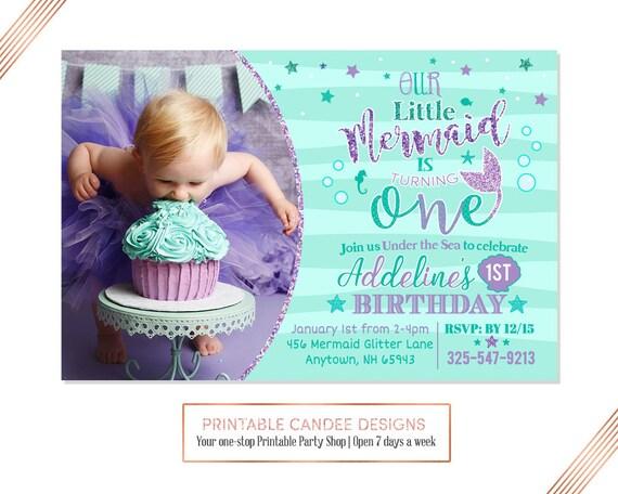 Mermaid First Birthday Invitation Invite Under The