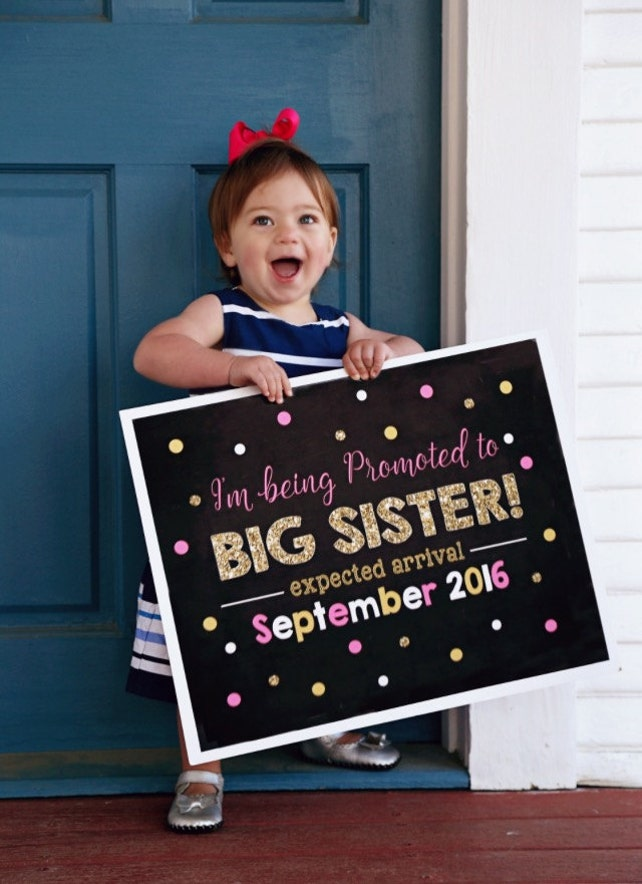 Pink and Gold Big Sister Announcement - Pregnancy Announcement - Pink and Gold Photoshoot Prop - Promoted to Big Sister sign - DIY Printable