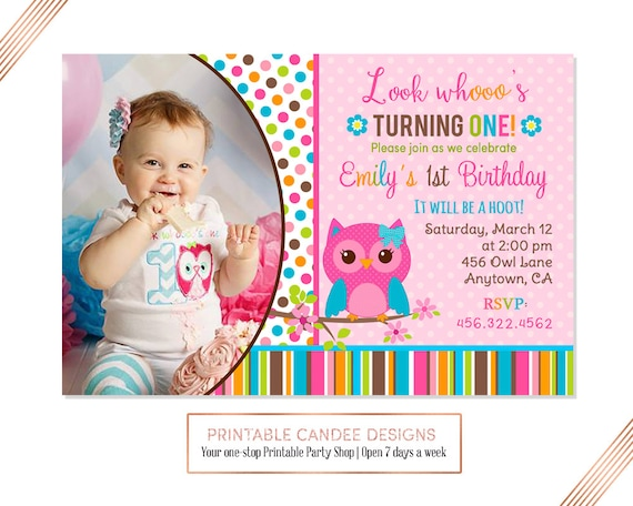 Girl Owl Birthday Invitation Pink Owls Theme Invite Adorable