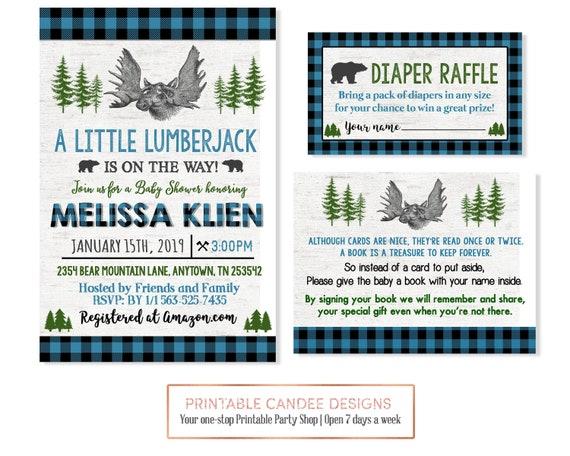 Lumberjack Baby Shower Invitation Moose Bear Buffalo Plaid Boy Etsy