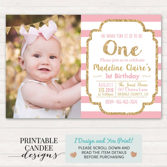 Pink And Gold Birthday Invitation 1st