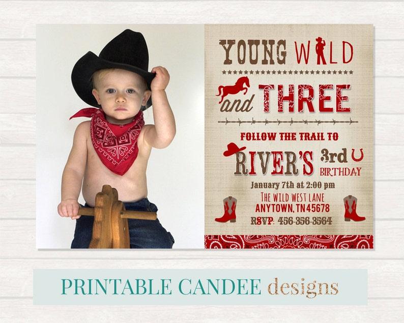 Wild Cowboy Invitation Western Birthday Party Boy
