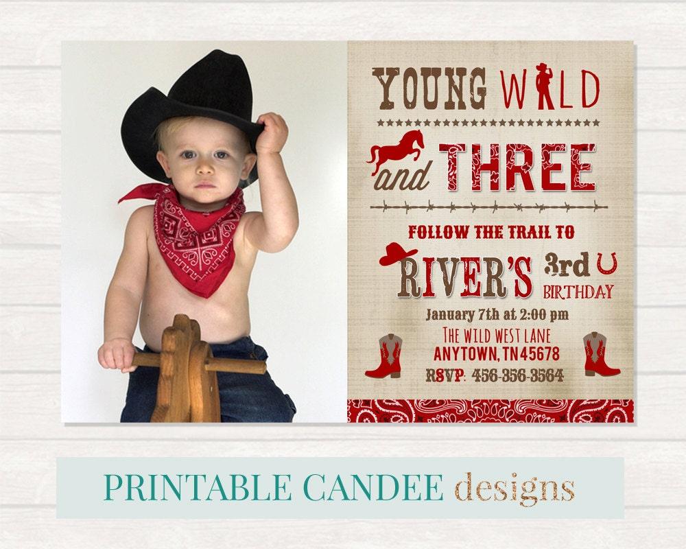 Wild Cowboy Invitation Western birthday Cowboy Party Boy | Etsy