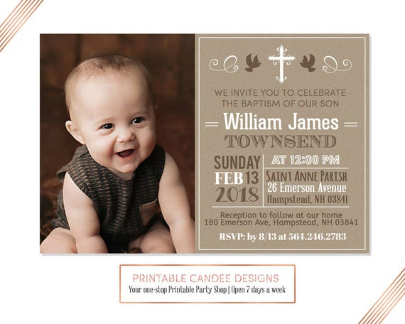 Burlap Baptism Invitation Baby Boy Baptism Invitation Etsy