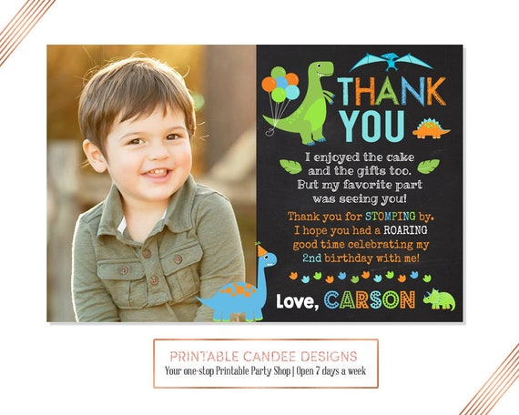 Dinosaur Thank You Dino 1st Birthday Photo Thank You Card Etsy