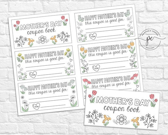 Mother's Day Coupon Book Printable Kids Children Mom Gift
