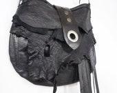 Black Leather Purse Rustic Leather Punk Rock Bag Goth Purse Black Fringe Purse Cross Body Bag Studded Purse Large Purse Ironic Dilemma