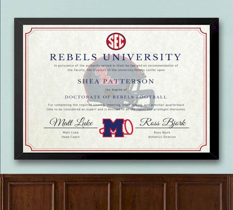 7786eb84fec Ole Miss Rebels Football Fan Diploma | Etsy