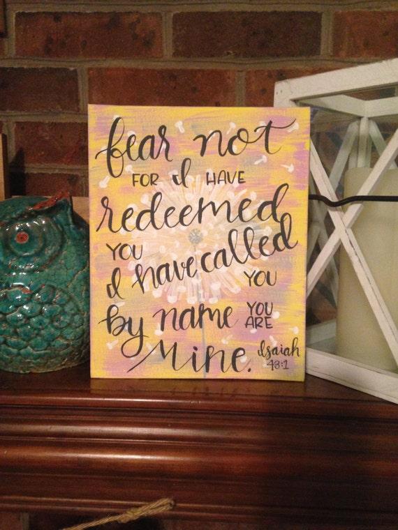 Isaiah 43:1 Canvas Panel size 8x10