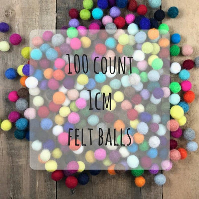 100 count  1cm Wool Felt Balls image 0