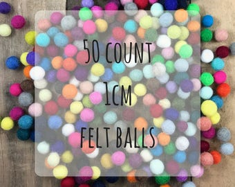 50 count - 1 cm wool felted balls assorted colors