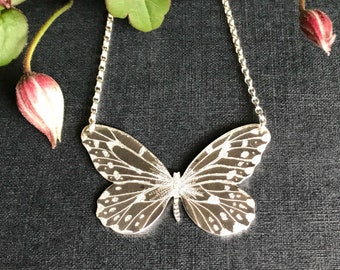 Handmade Sterling Silver Large, Smaller Wood Nymph Butterfly Necklace