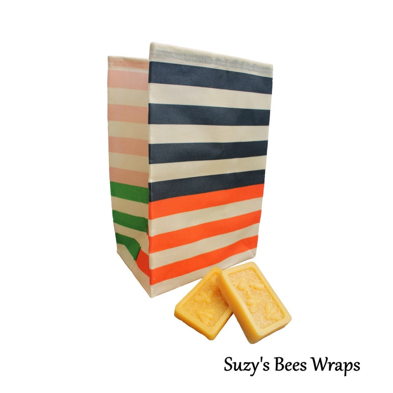 Waxed Canvas Lunch Bag  Zero Waste Food Bag  Suzy's Bees image 0