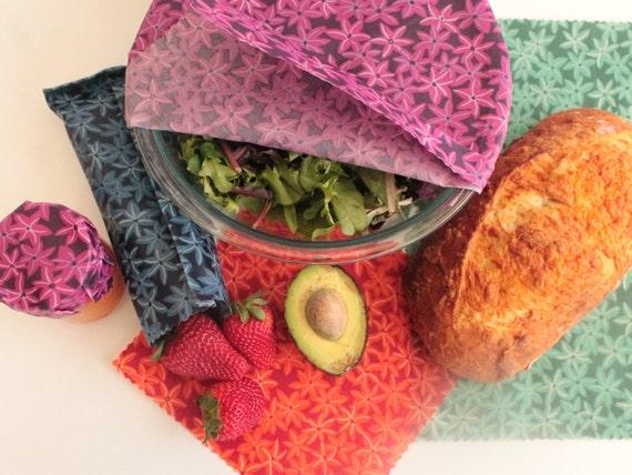 4 wrap starter pack cire dabeille r utilisable alimentaire etsy. Black Bedroom Furniture Sets. Home Design Ideas