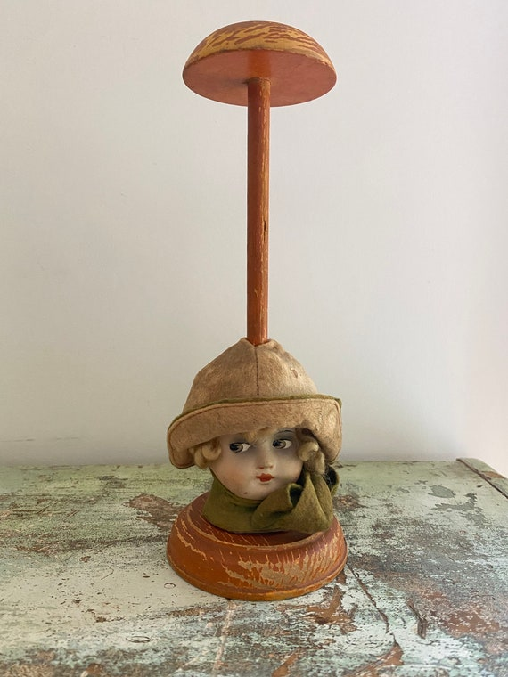 Vintage millinery hat holder / Hat holder with dol