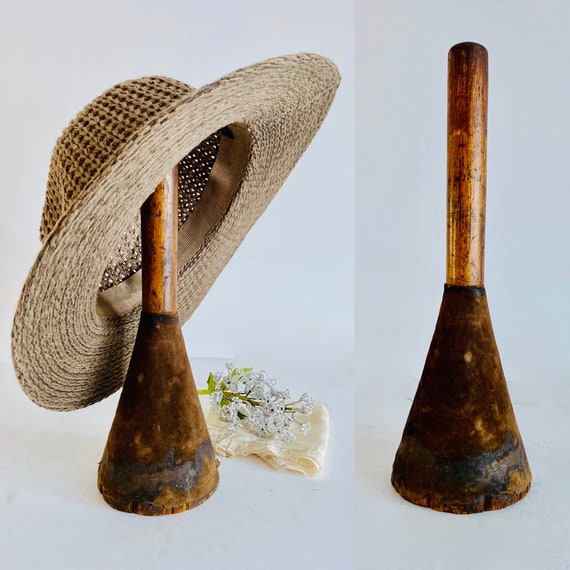 Vintage millinery hat holder / Spool hat holder