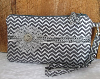 Grey Silver Chevron Pouch  Decorative Trim YoYo Flower With Wristlet Zipper Closure Vintage Silver ButtonTrim