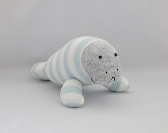 Manatee Plush Toy, Plushie, Stuffed Animal, Stuffed Toy, Sock Animal, Sock Monkey