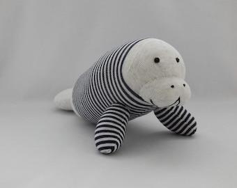 Manatee Plush Toy, Plushie, Stuffed Animal, Stuffed Toy, Sock Animal, Sock Monkey