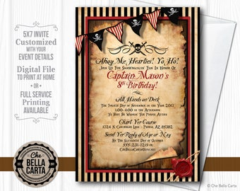 Pirate Party Customized Printable Invitation