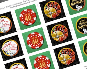 Casino Theme 2 Inch Party Circles for Cupcake Toppers, Favor Bags, Napkin Rings, Decorations, etc.