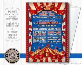 Circus Carnival Customized Printable Invitation
