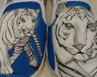 074604cf1bcb Bengal Tiger Shoes-Hand Painted Tiger Shoes--White Bengal Tiger-Orange  Tiger-Jungle Animal-Wild Cat-Slip On Canvas Shoes-Vans-Original Art