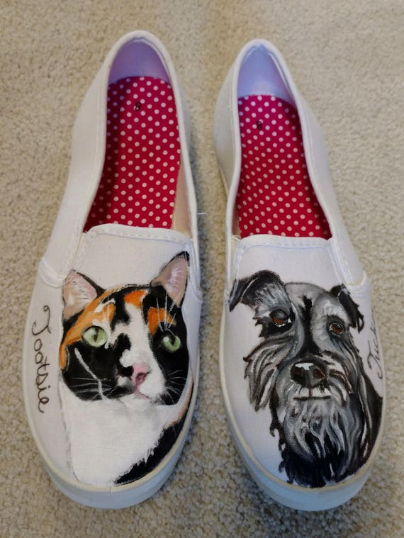 3a2f06d316 Custom Hand Painted Dog Shoes-Cat Shoes-Custom Portarait Pet Shoes-Slip On  Shoes-Vans-Canvas Shoes-Pet Portrait-Original Art