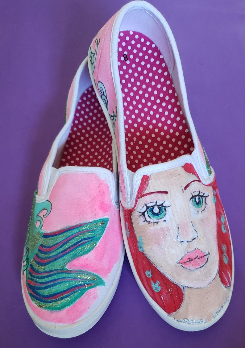 3690b828bbe07 Hand Painted Mermaid Shoes-Slip On Shoes-Vans--Whimsical