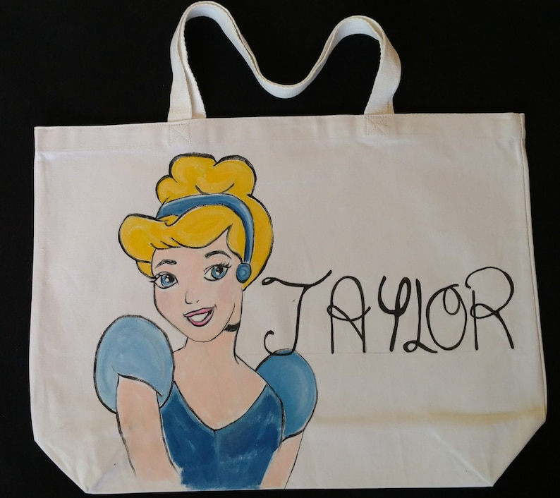 15208d9ea56a3 Cinderella-Tote Bag-Handpainted-Original Painting-Disney  Inspired-Personalized Tote Bag-Jumbo Tote Bag-Sturdy Tote Bag-100% Canvas