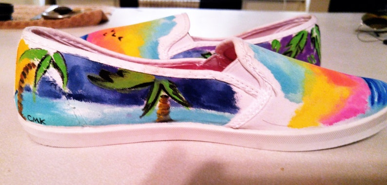 2e01987af547 Ocean Beach Shoes Original Art Generic Slip On Shoes