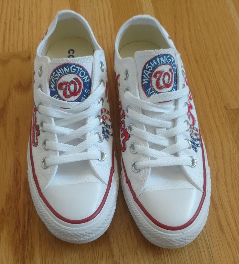5182e03486e85 Hand Painted Baseball Shoes-Personalized Team Shoes-Baseball  Fans-Converse-Slip On Shoes-Vans-Washington Nationals-Basketball Fans