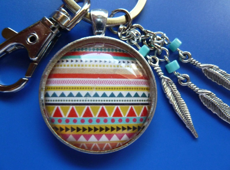 Brass Feather Turquoise Pendant Lobster Clasps Swivel keychain Wallet chain