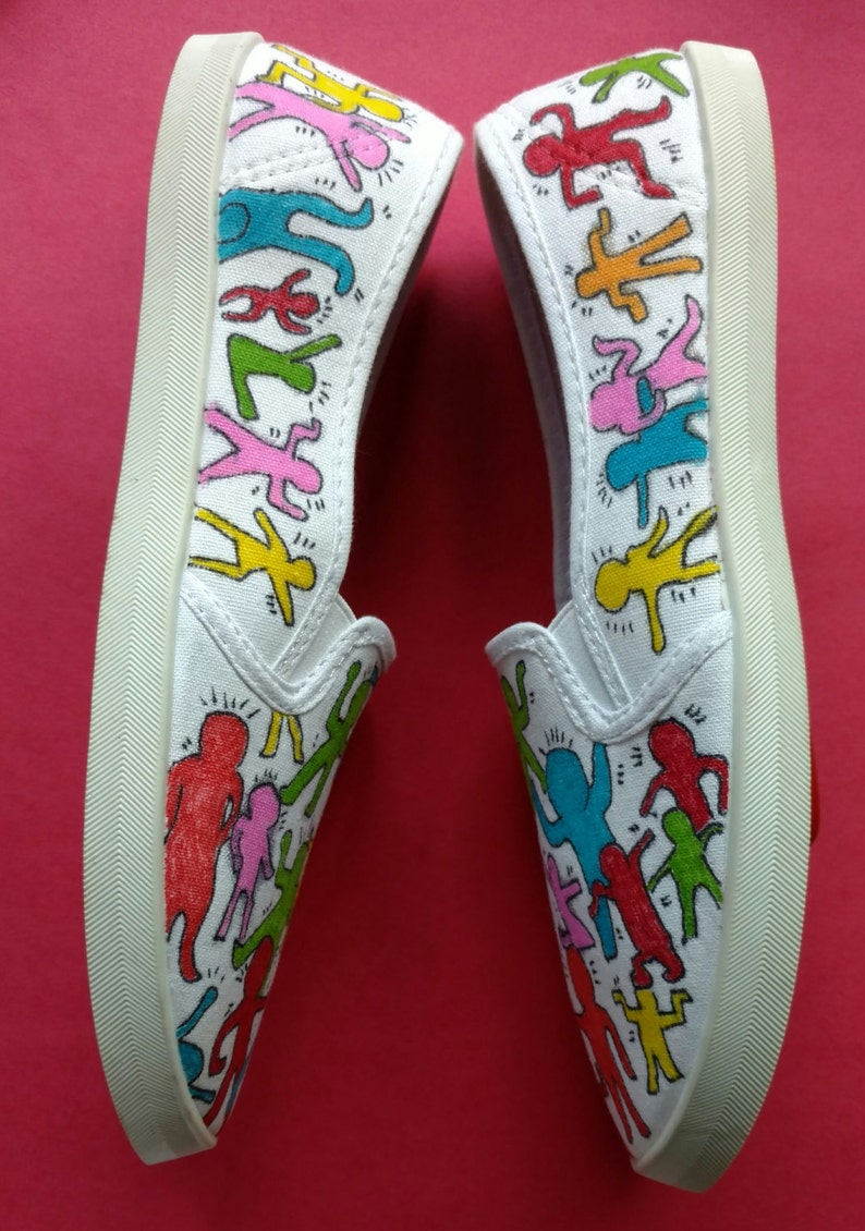 690a2ac7f9d8 Keith Haring Inspired Shoes-Slip On Canvas Shoes-Vans-Hand | Etsy