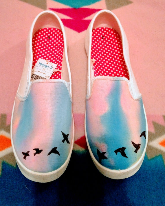 302a67d2efd6 Blackbird Shoes Black Birds-Flying Birds Hand Painted Shoes