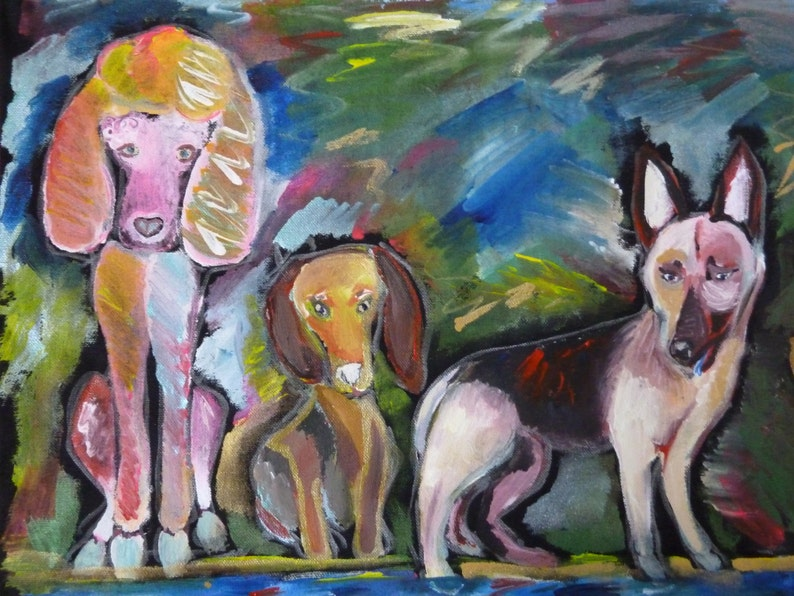 Dog Tote Bag-Poodle-Dachshund-Chichuahua-German Shepherd-Jumbo Heavy Duty Tote Bag-Original Hand Painted-Black Cotton Canvas-Dog Lovers